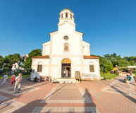 The icon of the Holy Mother of God Worthy is near the temple in the center of Pomorie, Bulgaria Stock Photo