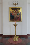 Icon of the Holy Trinity. YAROSLAVL, RUSSIA - MAY 03, 2014: The ancient icon of the Holy Trinity in the Cathedral of the assumption royalty free stock photography