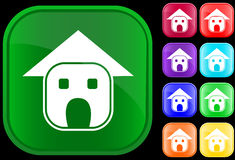 Icon of home. On shiny square buttons Vector Illustration