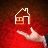 Icon of home with business Royalty Free Stock Images