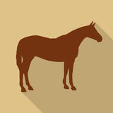 Icon horse in brown color in a flat design. Vector illustration Royalty Free Stock Photos