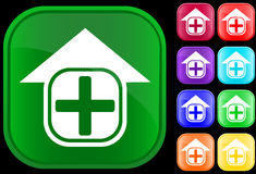 Icon of hospital. On shiny buttons Stock Illustration