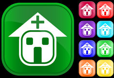 Icon of hospital. On shiny buttons Royalty Free Illustration