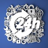 Icon 24 Hours on Handmade Paper Decoration. Royalty Free Stock Photos