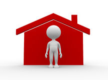 Icon house. 3d people - man, person with a house icon Stock Photo