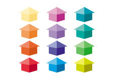 Icon of house. In different color Stock Photography