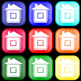 Icon of house on buttons. Icon of house on shiny buttons Stock Photo