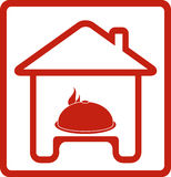 Icon with house and dish Royalty Free Stock Image
