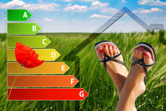 Icon of house energy efficiency rating with nice feet, poppy and green background. Cute icon of house energy efficiency rating with nice feet, poppy and green Stock Photography