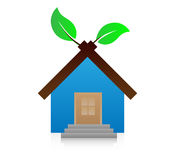 Icon house with leaf. Stock Photo