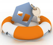 Icon of House in Life Buoy Stock Photography