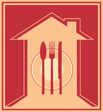 Icon with house silhouette and utensil Stock Photos