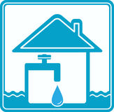 Icon with house, water pipe and faucet Stock Photo