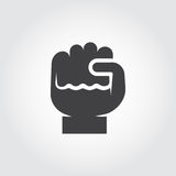 Icon of human fist - symbol of growth, motivation, enhancement. Flat logo of knuckle. Contour clenched fingers pictogram. Icon of human fist as a symbol of Royalty Free Stock Photo