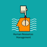 Icon human resource. Management. Symbol manipulation. Hand presses button in head of  man. Vector illustration Royalty Free Stock Image