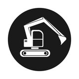Icon hydraulic tracked excavator . Vehicle construction Royalty Free Stock Photography