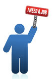 Icon with I need a job sign Stock Photo