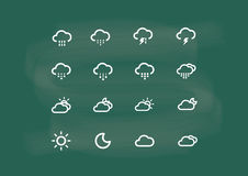 Icon, icon weather, vector of icon drawing on blackboard chalk Royalty Free Stock Photo