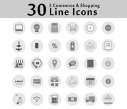 30 Icon Icons for Online Shopping Show business functions. There are many options. Royalty Free Stock Photos