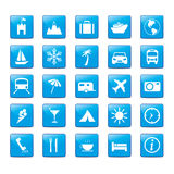 Icon Iconset Travel Holidays. Icon set in blue style for holidays Royalty Free Stock Photo