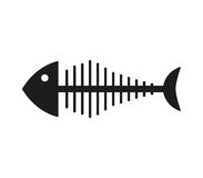 Icon illustrated fish skeleton. On white background Royalty Free Stock Photo
