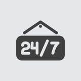 24 7 icon illustration Royalty Free Stock Photo