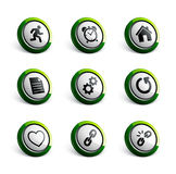 Icon illustrations. Set of green round icon illustrations Royalty Free Stock Photography