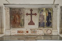 Icon with the image of the holy apostles with marble statues in the Abbazia delle Tre Fontane, in the martyrdom of the apostle Pau Stock Image