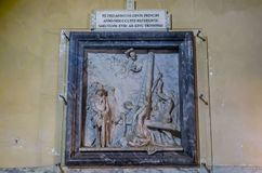 Icon with the image of the holy apostles with marble statues in the Abbazia delle Tre Fontane, in the martyrdom of the apostle Pau Royalty Free Stock Image