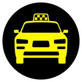 Icon with the image of a taxi car. Vector illustration Stock Photos
