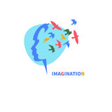 Icon imagination. Profile of girl`s head with flying bird. Logo, icon imagination. Vector illustration Stock Images