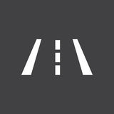 The icon indicates a lane change. Vector illustration of a sign on the car dashboard on a gray background. The icon indicates a lane change. Button design Royalty Free Stock Photography