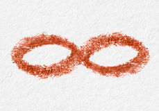 Icon of infinity. Drawn on paper closeup Royalty Free Stock Photos