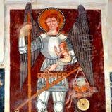 Icon inside in the old fortified church Dirjiu, Transylvania, Romania Royalty Free Stock Images