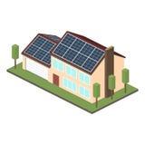 Icon isometric house with solar panels. Stock Image