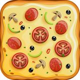 Icon with italian pizza with sausage and tomato. Illustration of Icon with italian pizza with sausage, tomato and mushrooms icon Royalty Free Stock Photo