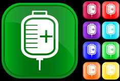 Icon of IV drip. On shiny buttons Vector Illustration