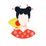 Icon with a Japanese girl in red with a yellow fan. vector illus Royalty Free Stock Photo