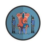 Icon jester, joker in the royal throne. Vector illustration stock illustration