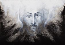 Icon of Jesus Christ Shroud executed by watercolor. On black and white background Stock Images