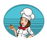 Chef girl catroon cute. Icon job and professional cartoon chef for cafe, estaurant or bar Royalty Free Illustration