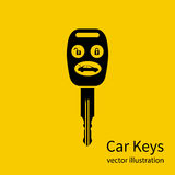 Icon key car. Isolated black pictogram on yellow background. Silhouette key auto with remote control, and control buttons. Vector illustration flat design Royalty Free Stock Photo