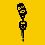 Icon key car. Isolated black pictogram on yellow background. Silhouette key auto with remote control, and control buttons. Vector illustration flat design Stock Images