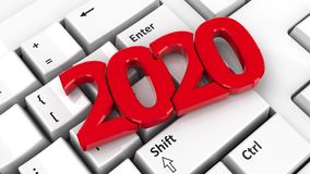 2020 icon on keyboard vector illustration