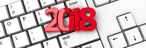 2018 icon on keyboard  2. 2018 icon on the computer keyboard background represents the new year 2018, three-dimensional rendering, 3D illustration Stock Image