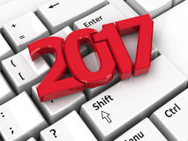 2017 icon on keyboard. 2017 icon on the computer keyboard background, three-dimensional rendering, 3D illustration Stock Illustration