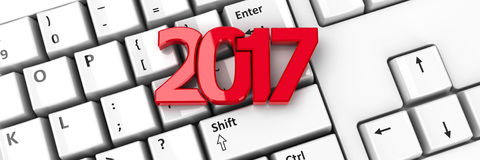 2017 icon on keyboard 2. 2017 icon on the computer keyboard background, three-dimensional rendering, 3D illustration Stock Illustration