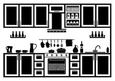 Icon of kitchen. Image kitchen in black and white on a white background Stock Photos