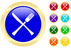 Icon of knife and fork Royalty Free Stock Photo