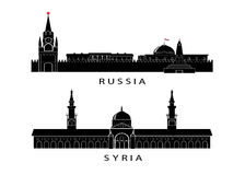 Icon the Kremlin to Russia and a mosque in Syria. Stock Photo